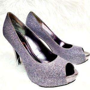 Jacqueline Ferrar Sparkle Platform Peep Toe Heels
